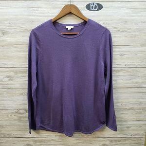J Jill 100% Merino Wool Plum Long Sleeve Sweater
